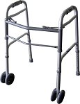 "Bariatric Dual Button Folding Walker With 5"" Wheels"