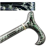 Hand Painted Derby Cane - Black Bamboo