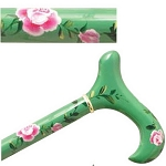 Hand Painted Derby Cane - Green Rose