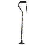 Self Standing Offset Handle Aluminum Cane - Butterfly