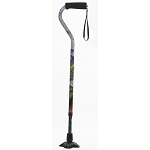 Self Standing Offset Handle Aluminum Cane - Peacock