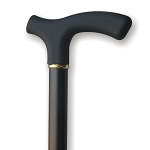 Wood Cane Soft Touch Fritz Handle - Black