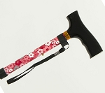 Adjustable Travel Folding Cane - Pink Floral