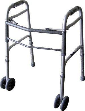 Bariatric Dual Button Folding Walker With 5 inch Wheels