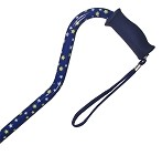 Offset Handle Aluminum Cane - Blue Star - Silicon Handle