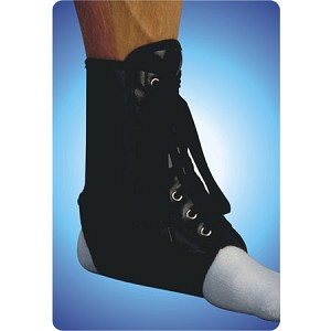 Black Vinyl Lace-Up Ankle Brace