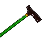 Straight Adjustable Cane - Green Marbel