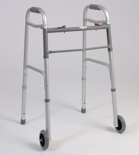 Dual Button Folding Walker With Wheels