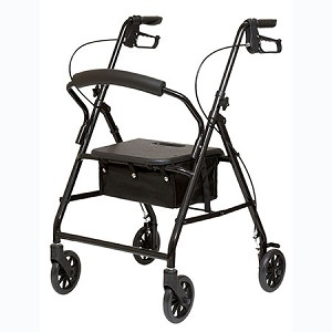 Lightweight Steel Rollator W/ Brakes and Padded Seat