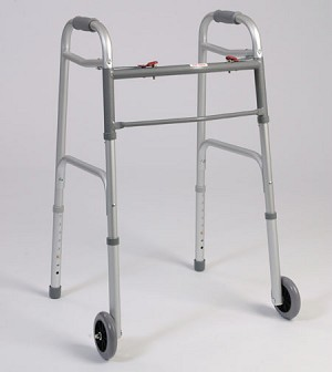 Dual Button Folding Walker With Wheels
